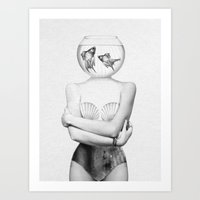 comic Art Prints featuring Pisces  by Jenny Liz Rome
