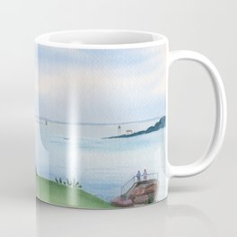View from Fort McClary in Maine Watercolor Painting Coffee Mug
