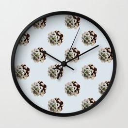 Tulip_Succulent_Echeveria Blue Star repeat pattern Wall Clock