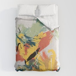 Intuitive Conversations, Abstract Mid Century Colors Comforters