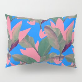 Retro Luxe Lilies Electric Blue Pattern Pillow Sham