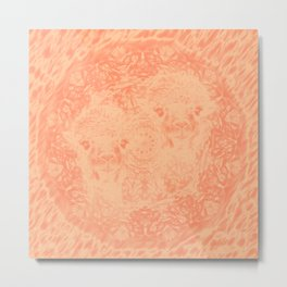 Ghostly alpacas with mandala in peach echo Metal Print