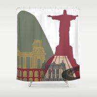 rio de janeiro Shower Curtains featuring Rio de Janeiro skyline poster by Paulrommer