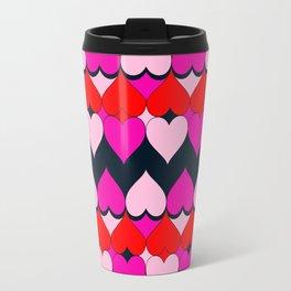 Multi Hearts Red Pink Navy Travel Mug