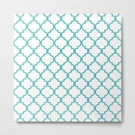 Moroccan Trellis (Teal & White Pattern) Metal Print