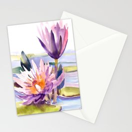 Water Lily,  Lotus, Asian Ink drawing Zen brush pink purple flower Stationery Cards