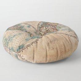 World Map Med 1800s Floor Pillow