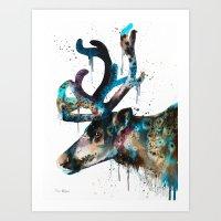 reindeer Art Prints featuring Reindeer  by Slaveika Aladjova