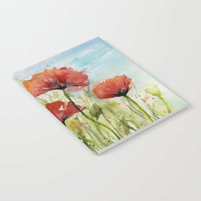 Red Flowers Watercolor Landscape Poppies Poppy Field Notebook