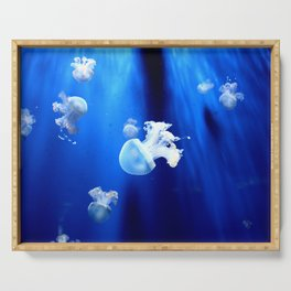 Underwater Jellyfish Blue Serving Tray
