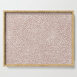 Little wild cheetah spots animal print neutral home trend warm dusty rose coral Serving Tray