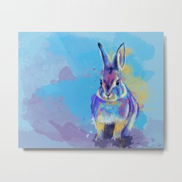 Bunny Dream - Fluffy rabbit illustration, cute animal art Metal Print