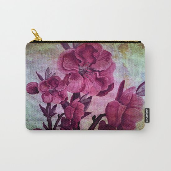 pink flowers and rust Carry-All Pouch
