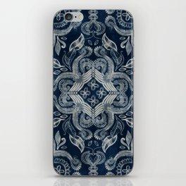 Indigo blue dirty denim textured boho pattern iPhone Skin