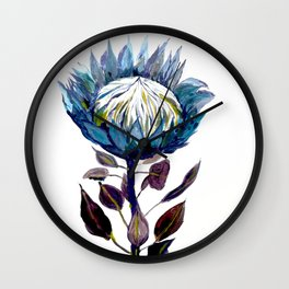 Blue protea king protea flower tropical africa protea flower pattern botanical garden plant Wall Clock