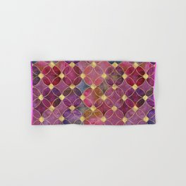 Informe Abstracta Burgundy Abstract Pattern Golden Rings Design Hand & Bath Towel