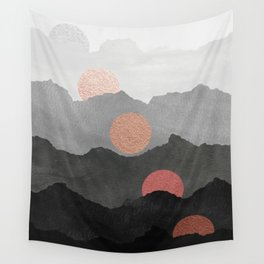 Abstract Mountains // Shades of Black and Grey Landscape Full Metallic Gold Moon Wall Tapestry