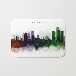 Detroit Watercolor Skyline Bath Mat