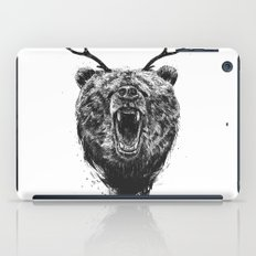 Angry bear with antlers iPad Case