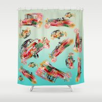 psychadelic Shower Curtains featuring cars  by mark ashkenazi