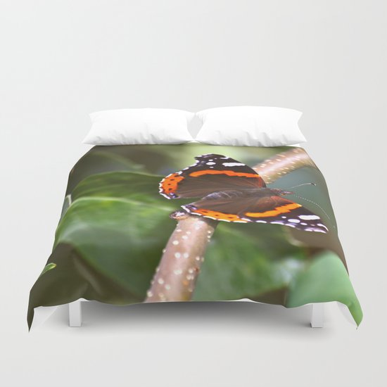 Admiral On The Apple Tree Branch Duvet Cover
