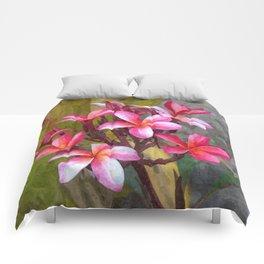 Hawaiian Pink Plumera Comforters