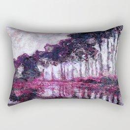 Monet Poplars on the Banks of the River Epte Purple Magenta Rectangular Pillow