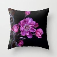 cherry blossom Throw Pillows featuring Cherry Blossom by CreativeByDesign