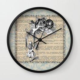 Alice and Cat - Original Illustration  Wall Clock