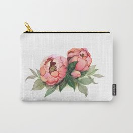 Waercolor illustration peony flower painting Carry-All Pouch