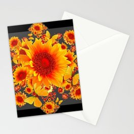 BLACK-GREY RED SUNFLOWERS PATTERS Stationery Cards
