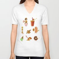 junk food V-neck T-shirts featuring Junk food Army by Jiaqi He