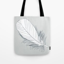 White Feather on Grey Background Illustration Tote Bag