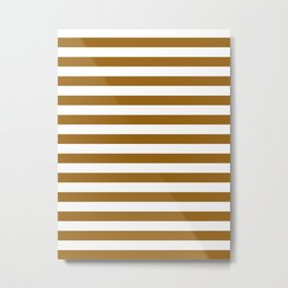 Narrow Horizontal Stripes - White and Golden Brown Metal Print