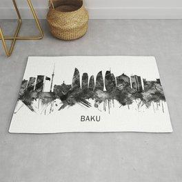 Baku Azerbaijan Skyline BW Rug