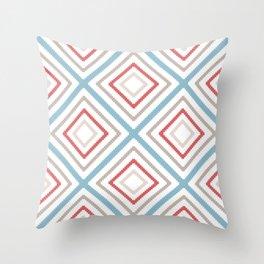 Minimalist Geometric Bitmap Pattern of Diamonds in Muted Red Blue Beige Throw Pillow