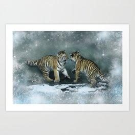 Playful Tiger Cubs Art Print