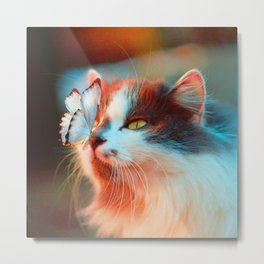 Cat With Butterfly On Nose Metal Print