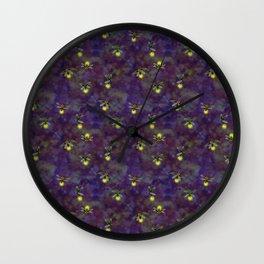 fireflies glow on dark purple violet bokeh Wall Clock