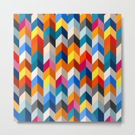 Colorful 3D zigzag pattern Metal Print