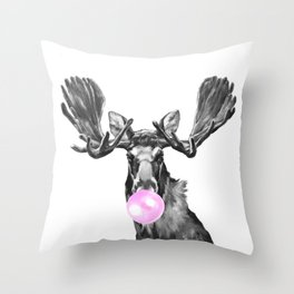 Bubble Gum Moose in Black and White Throw Pillow