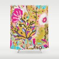 karen hallion Shower Curtains featuring Bohemian Pink Abstract Flowers by Karen Fields by Karen Fields Design
