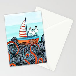 Seagull and little boat Stationery Cards