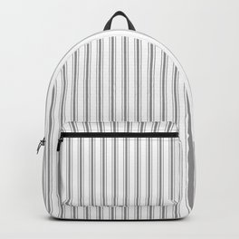 Mattress Ticking Narrow Striped Pattern in Charcoal Grey and White Backpack