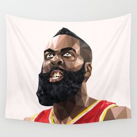 nba Wall Tapestries featuring James Harden by Roland Banrevi