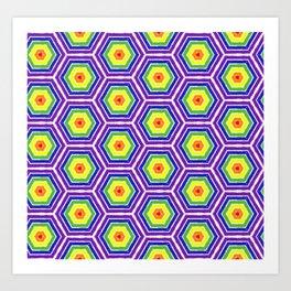 Pride Honeycomb Reverse Rainbow Art Print
