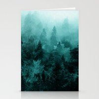 blankets Stationery Cards featuring Fractal Forest by Klara Acel