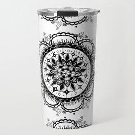 Black and White Floral Rose Mandala Textile Travel Mug