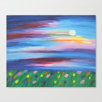 moonrise Canvas Prints featuring moonrise by Kesa