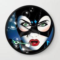catwoman Wall Clocks featuring Catwoman by mark ashkenazi